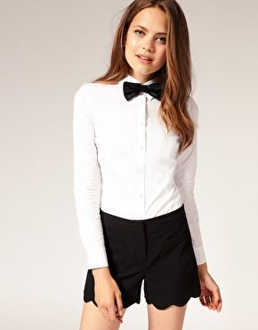 0e2e125e86c4d7 Frankie Halloween costume for Micaela? My white button up, black shorts,  and bow tie. | Uniform Addison | Bow tie shirt, Tied shirt y Tie