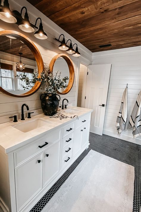 Beautiful shiplap bathroom in a modern farmhouse. Here's our completed bathroom renovation plus we answer all your questions about whether or not shiplap in a bathroom is a good idea. Bathroom Renos, Laundry In Bathroom, Next Bathroom, Shiplap Wall In Bathroom, Basement Bathroom Ideas, Farmhouse Bathroom Mirrors, Bath Mirrors, Washroom, Bad Inspiration