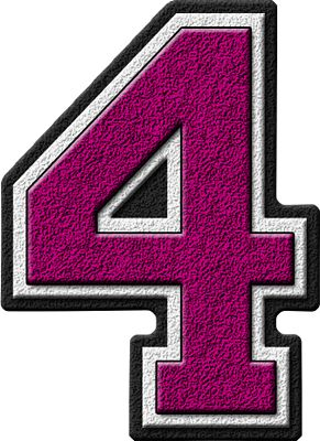 Presentation Alphabets: Magenta Varsity Numeral 4