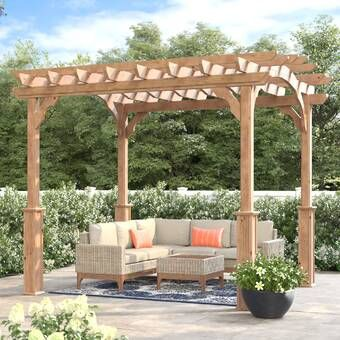 10 Ft W X 12 Ft D Solid Wood Pergola With Mounting Kit In 2020 Pergola Aluminum Pergola Wood Pergola