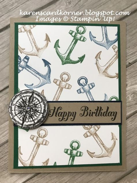 Stampin' Up! Sailing Home Masculine Birthday Card TGIF peeps! Can you believe this is the last day of January. Remember when it used to seem like it was the longest month of the year for those of us who lived in the snow and cold? Well, living in Masculine Birthday Cards, Birthday Cards For Men, Handmade Birthday Cards, Man Birthday, Masculine Cards, Cards For Men Handmade, Tarjetas Stampin Up, Stampin Up Karten, Nautical Cards