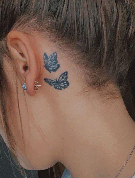 Dope Tattoos For Women, Neck Tattoos Women, Butterfly Tattoos For Women, Tiny Tattoos For Girls, Butterfly Tattoo Designs, Butterfly Neck Tattoo, Back Of Neck Tattoos For Women, Small Neck Tattoos, Girl Neck Tattoos