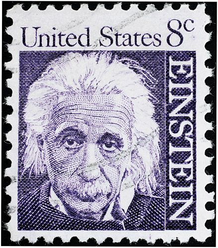The scientist, Albert Einstein, is pictured on a postage stamp, in recognition of his groundbreaking research.