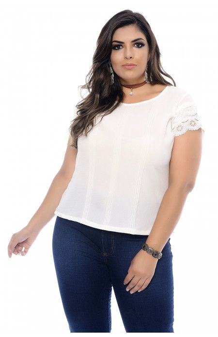 845c7af0e52c Blusa Plus Size Off White Nervuras e Renda em 2019 | her | Blusas, Blusa  plus size e Off white