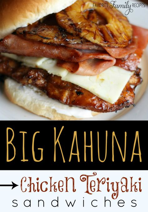We wanted to spice up our chicken teriyaki sandwiches by adding some ham and Pepper Jack cheese. These Big Kahuna Chicken Teriyaki Sandwiches were the result. Chicken Sandwich Recipes, Soup And Sandwich, Teriyaki Chicken Recipes, Chicken Sandwhich, Grilled Chicken Sandwiches, Sandwich Ideas, Sandwich Croque Monsieur, Gula, Wrap Sandwiches