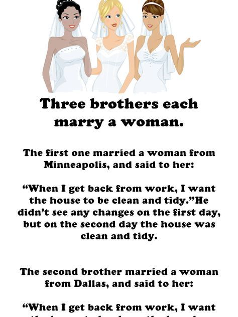 Three Brothers Get Married Things Don T Go To Plan Jokes Humor Wife Jokes Funny Long Jokes Getting Married Funny