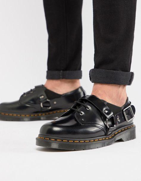 quality design b9089 3de10 Dr Martens Fulmar Black Leather Harness Flat Shoes in 2019   Dr.Martens    Shoes, Dr martens, Flats