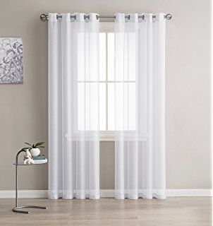 Grommet Semi Sheer Curtains 2 Pieces Total Size 108 Inch Wide 54 Inch Each Panel 108 Inch Long Panel B Elegant Curtains White Paneling Panel Curtains