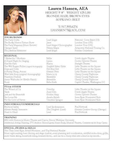 Acting Resume Example Career Pinterest Sample resume - choreographer resume