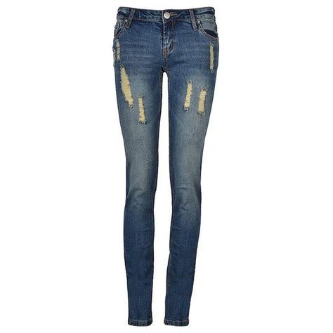 RIPPED WASHED SKINNY JEANS ($35) ❤ liked on Polyvore featuring jeans, pants, bottoms, pantalones, skinny leg jeans, ripped blue jeans, destruction jeans, ripped skinny jeans and denim skinny jeans