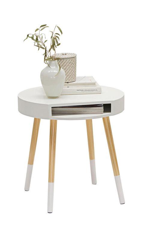 Kleiner Weisser Beistelltisch Mit Runder Tischflache Beistelltisch Tischplatte Rund Beistelltisch Holz