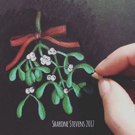 mistletoe Doodling some mistletoe with...