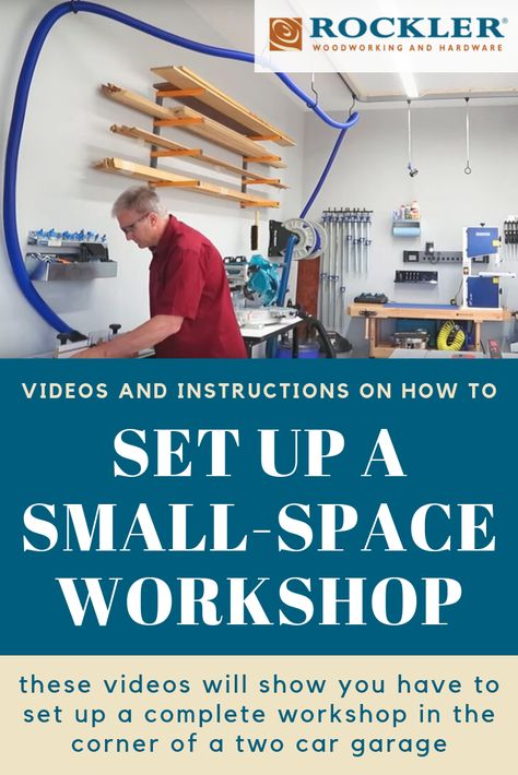 Setting Up A Small-Space Workshop -   In order to demonstrate, we set up a complete woodworking shop in one corner of a typical two car garage. This workshop includes all the key tools necessary to tackle a wide variety of woodworking projects and still allows two cars to park in the garage. #Rockler #RocklerWoodworking #Woodworking #WorkShop #Video #HowTo #DIY