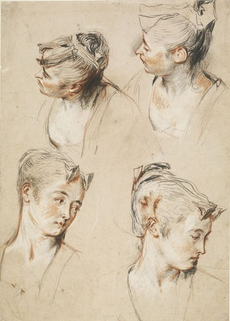 Watteau, 'Five Studies of a Woman's Head,  c.1716-17. Red, black and white…