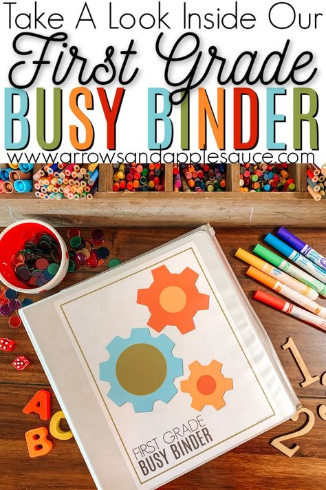 Take a look inside our first grade busy binder, packed with printable, educational, hands-on fun! #firstgradehomeschool #firstgradecurriculum #homeeducation #educationalprintables #firstgrademath #firstgradescience #learningtoread