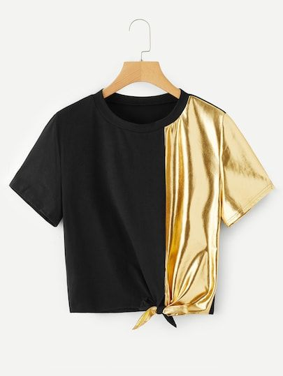 To find out about the Knot Side Contrast Metallic Tee at SHEIN, part of our latest T-Shirts ready to shop online today!