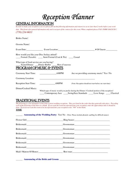 wedding planner questionnaire template - Google Search Wedding - wedding coordinator resume