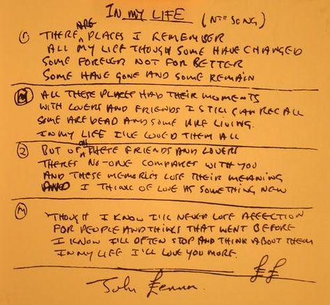 John Lennon's written lyrics to In My Life - The Beatles