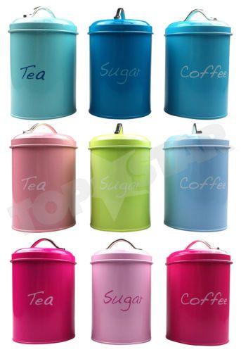 Tea-Coffee-Sugar-Canisters-Storage-Kitchen-Jars-Set-Of-3-Pastel-Multi-Colour-NEW
