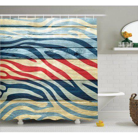 Zebra Print Decor Shower Curtain Set Art Colored Zebra Print On