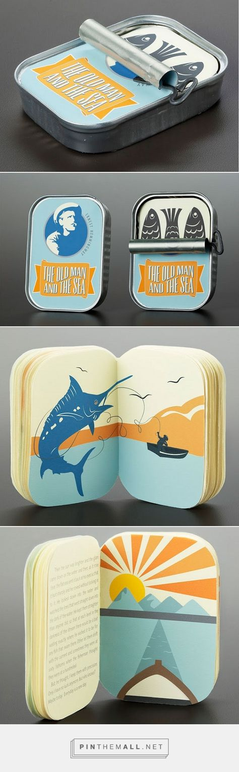 Brilliant Tin Can Packaging For Hemingway's Classic 'The Old Man And The Sea' via DesignTAXI.com curated by Packaging Diva PD.