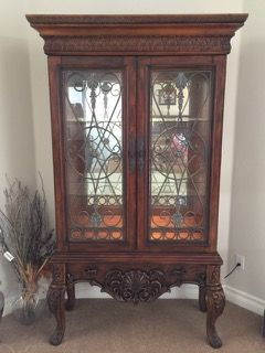 Ashley Furniture Company 7 Ft Carved Curio Cabinet With Mirrored