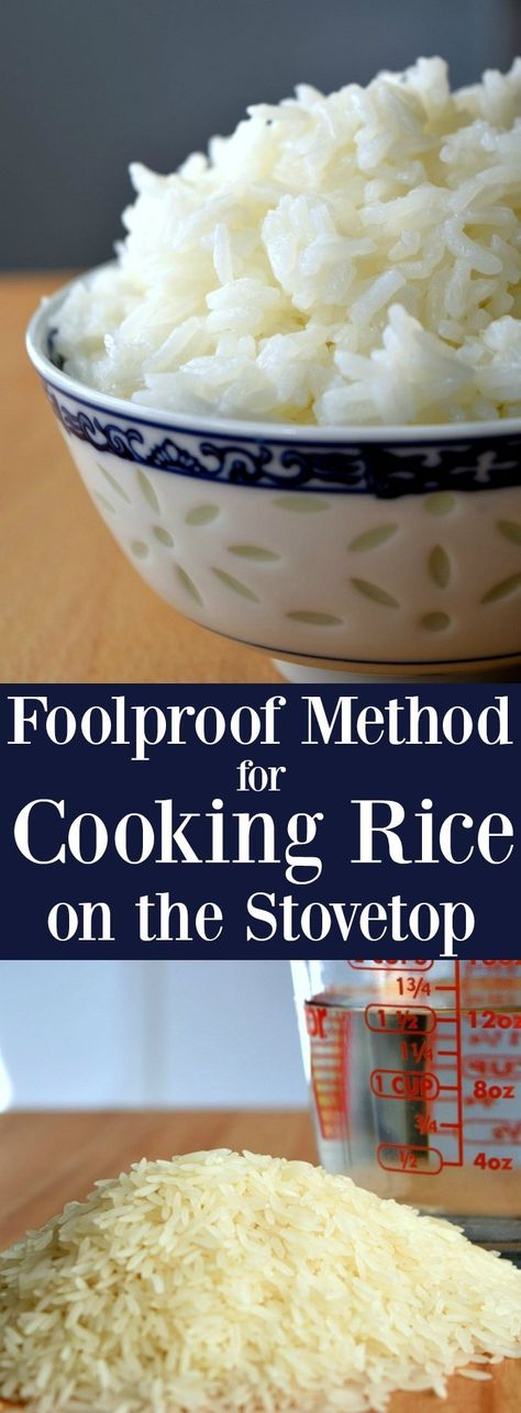 Foolproof Method for Cooking Rice on the Stovetop The Schmidty Wife Cooking White Rice, Cooking Rice, Easy Cooking, Healthy Cooking, Cooking Recipes, Cooking Dishes, Freezer Cooking, Vegetarian Cooking, Cooking Ideas