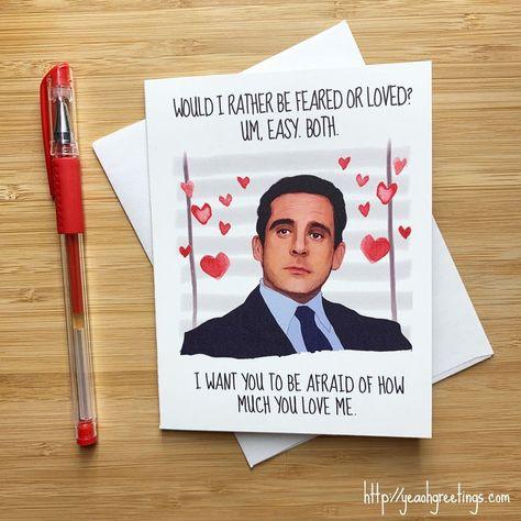 Funny Michael Scott Love Card The Office Gift Michael Scott | Etsy