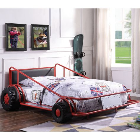 Acme Taban Race Car Twin Bed Red Silver Black Leatherette Loft