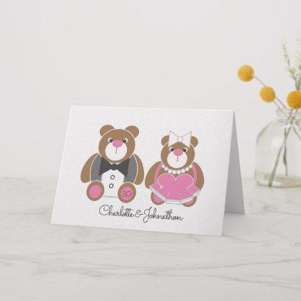 30th Pearl Wedding Anniversary Cute Teddy Bear Card Zazzle Com Bear Card Wedding Anniversary Cards Wedding Congratulations