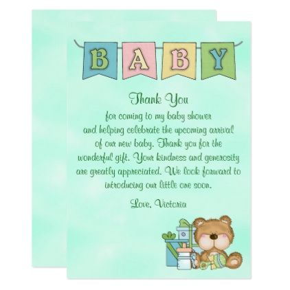 Baby Shower Gender Neutral Teddy Bear Invitation Zazzle Com
