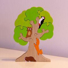 Jouet : puzzle en bois arbre et ses animaux de la foret : 12 pièces