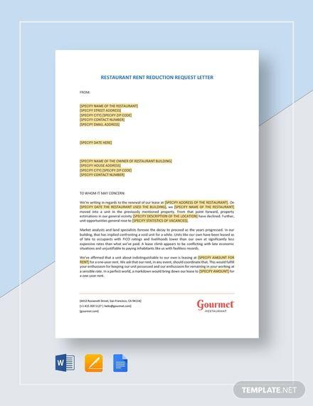 Restaurant Rent Reduction Request Letter Letter Templates