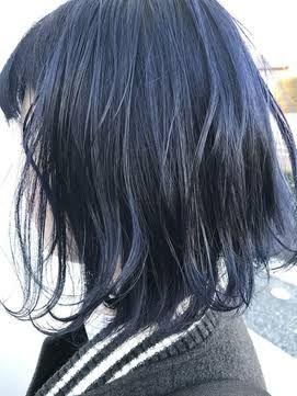 ブルーブラック の画像検索結果 ヘアスタイル ロング 髪 カラー