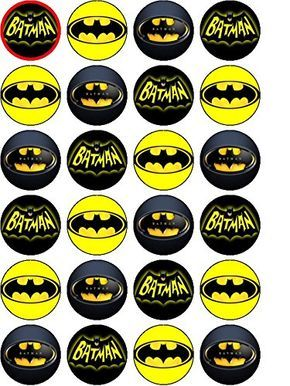 image relating to Batman Cupcake Toppers Printable named 24 x Rice Paper Batman UN-Slash Cupcake / Cake Toppers
