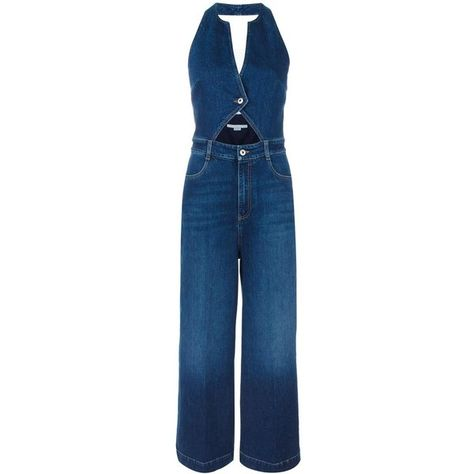 8f25ac0f8d74 Stella McCartney cut-out denim jumpsuit ( 765) ❤ liked on Polyvore  featuring jumpsuits