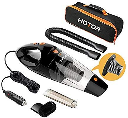 Corded Car Vacuum Cleaner High Power for Quick Car Cleaning HOTOR Car Vacuum Orange DC 12V Portable Auto Vacuum Cleaner for Car Use Only