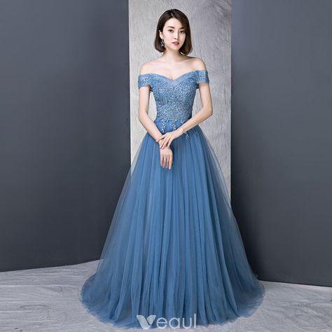 31e0e76040b4 Modern / Fashion Ocean Blue Evening Dresses 2018 A-Line / Princess  Off-The-Shoulder Short Sleeve Appliques Lace Beading Pearl Rhinestone Sweep  Train Ruffle ...