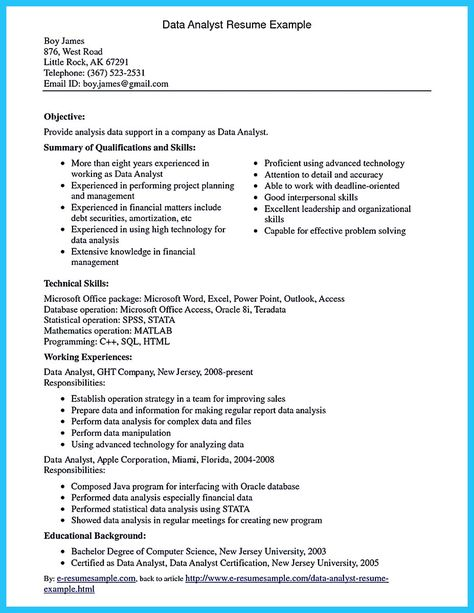 cool High Quality Data Analyst Resume Sample from Professionals - data analyst resume summary