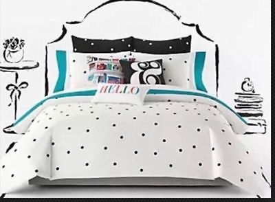 Kate Spade Deco Dot Black White Polka Dots 3pc Full Queen