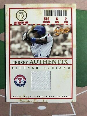 Alfonso Soriano Game Used 2005 Fleer Authentix Jersey Alfonso Soriano Card Ebay In 2020 Cards Jersey Baseball Cards