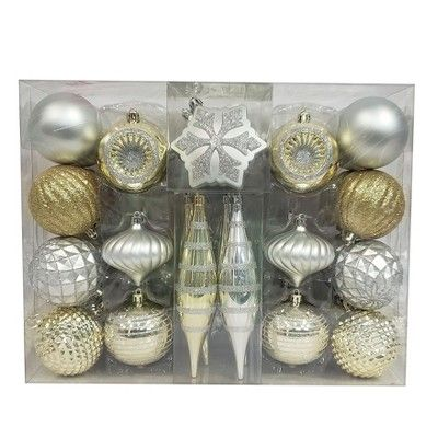 Christmas Hanging Rose Gold and Yellow Gold Snowflake and Ball Ornament Assortment Set with Hooks RND Christmas Snowflake Ball Ornaments