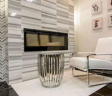 White Tiled Livingroom Idea Living Room Tiles Design Living