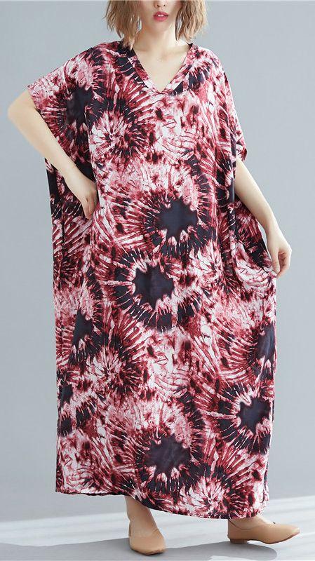 DIY rose print tunic pattern o neck batwing sleeve loose summer