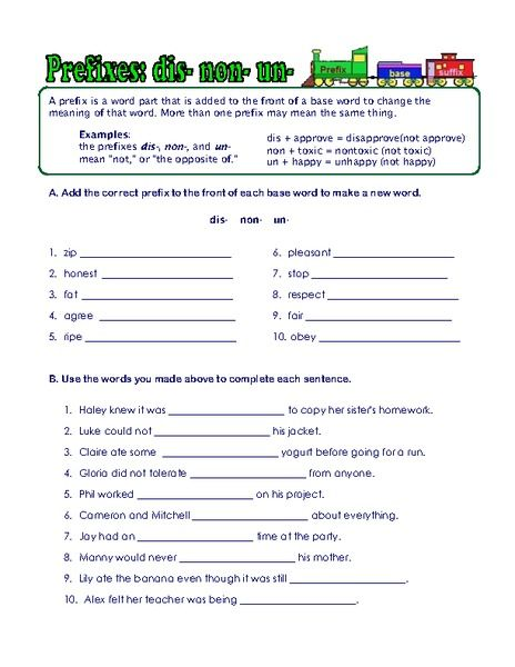 Prefix Suffix And Root Word Worksheets Worksheet For 3rd 6th