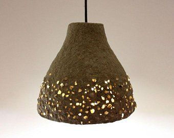 Paper Mache Pendant Light Recycled Paper Lampshade Paper Pulp Light Translucent Paper Light Hanging Lamp 30 Cm 12 Inches Diameter Paper Lampshade Lamp Shades Hanging Lights