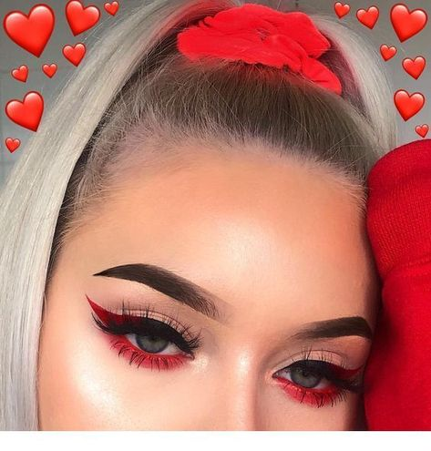 Amazing Red Eyeshadow Makeup Ideas For The Coming Valentine's Day; Makeup Looks; Valentine Makeup Looks; Red Eyeshadow Makeup Looks; Red Eyeshadow Makeup, Eye Makeup Art, Colorful Eye Makeup, Red Eyeliner, Eyeshadow Ideas, Bright Eye Makeup, Copper Eyeshadow, Orange Eyeshadow, Glitter Eyeshadow