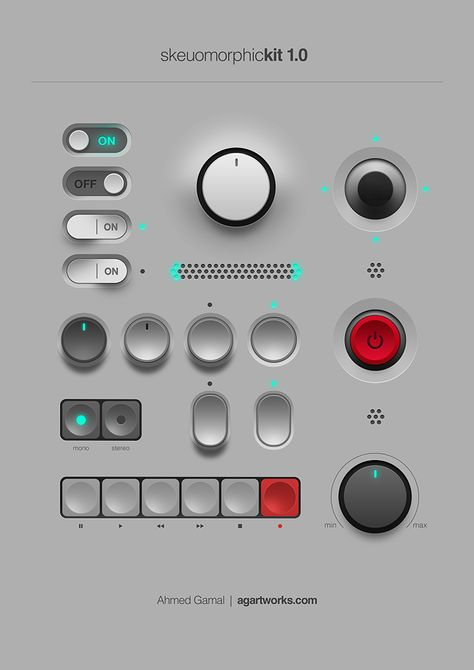 Week 1 - Skeuomorphic Web Design - This is about a real looking UI kit. The switches, knobs, and buttons all look as if this were a real board. Interaktives Design, App Ui Design, User Interface Design, Logo Design, Flat Design, Design Layouts, Mobile App Design, Mobile Ui, Dieter Rams Design