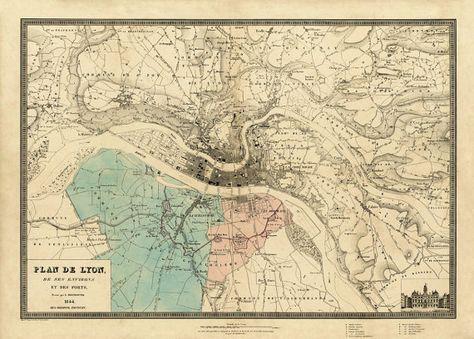 Vintage Map Of Lyon Plan De Lyon Old Map Of Lyon Print Fine