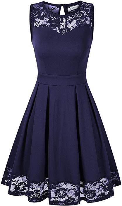 Kojooin Damen Elegant Kleider Spitzenkleid Ohne Arm Cocktailkleid Knielang Rockabilly Kleid Blau Dunkelblau S Am Spitzenkleider Cocktailkleid Elegante Kleider